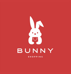 bunny shopping bag logo icon vector image