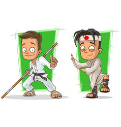 cartoon kung fu boys character set vector image