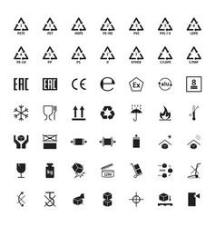 cartoon packaging symbols icons set vector image
