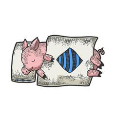 cartoon sleeping piggy sketch engraving vector image
