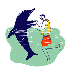 Character in life vest swimming and playing vector