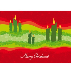 Christmas candles on a red background vector image