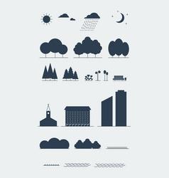 City landscape elements silhouette style vector