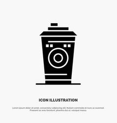 Coffee mug starbucks black coffee solid glyph icon vector