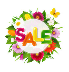Color sale banner ball from flowers with butterfly vector