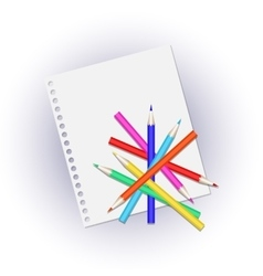 Colored pencils on a white page vector image
