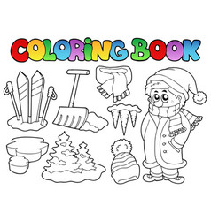 Coloring book winter topic 3 vector
