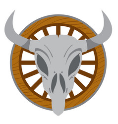 cow skull on a wheel wild west theme tattoos vector image