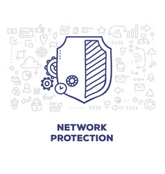 Creative of big shield with line icons header on vector