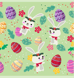 Cute bunny and easter eggs seamless pattern with vector