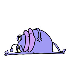 Cute purple alien resting lying down vector