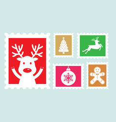 Different christmas postage stamps vector