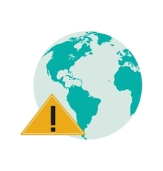 Earth globe and warning sign icon vector
