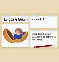 English idiom in a nutshell template vector