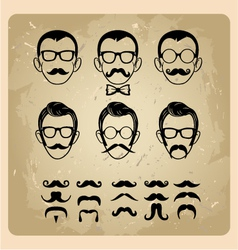 Faces with mustaches sunglasseseyeglasses and a vector