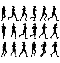 female marathon runners vector image