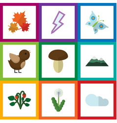 flat icon bio set of lightning floral peak and vector image