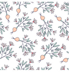 flowers and roots growing seamless pattern vector image