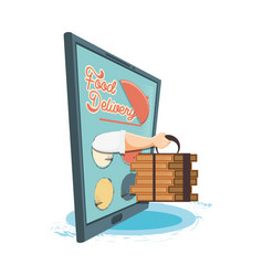 Food delivery service with smartphone icon vector