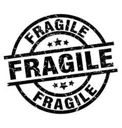 Fragile round grunge black stamp vector