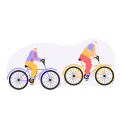 grandfather and grandmother riding bike outdoor vector image