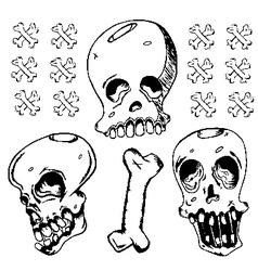 Grunge Black Ink Doodle Skull vector