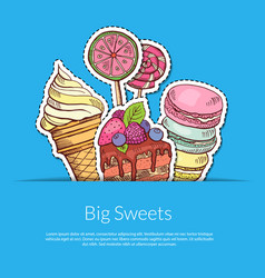 Hand drawn sweets in pocket vector