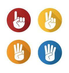 hand gestures flat design long shadow icons set vector image