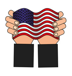 hands with american flag national vector image