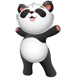 happy baby panda standing vector image
