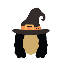 happy halloween witch with hat trick vector image