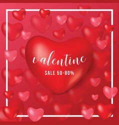 happy valentine day gift voucher coupon heart red vector image