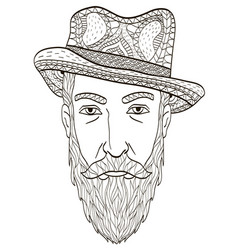 head of an elderly man with a beard coloring book vector image