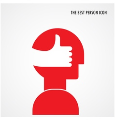 Head symbol with best hand sign vector