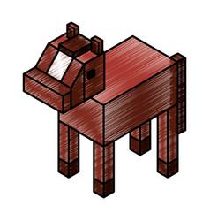 Horse isometric isolated icon vector
