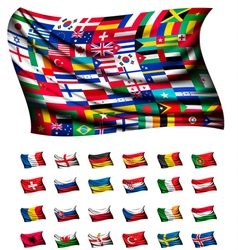 Huge flag consisting of different countries vector