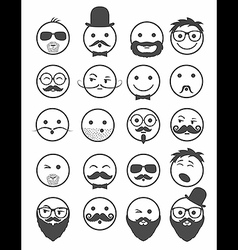 Icon set 20 mans faces vector