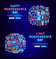 independence day neon banners vector image