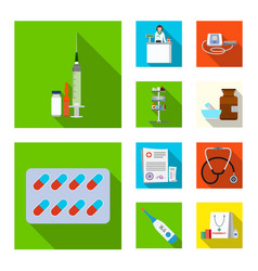 isolated object of pharmacy and hospital symbol vector image