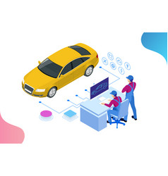 Isometric auto repair service station workers vector