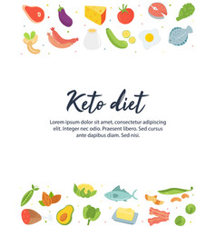 ketogenic diet food low carb high healthy fats vector image