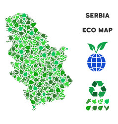 Leaf green collage serbia map vector