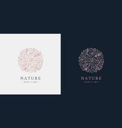 linear plant logo circle luxury organic vector image
