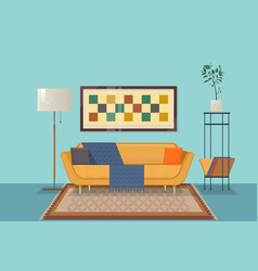 living room interior design with furniture ouch vector image