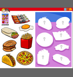Matching shapes game with food objects vector