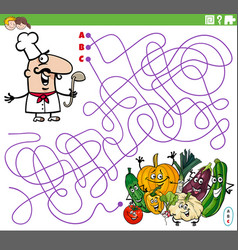 Maze game with cartoon chef and vegetables vector