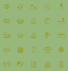 Meditation green line icons vector image