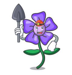 Miner periwinkle flower mascot cartoon vector