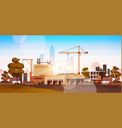 Modern city construction site tower cranes vector