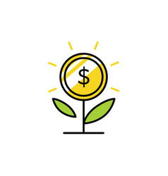 money grow coin leaf growth investment sprout vector image